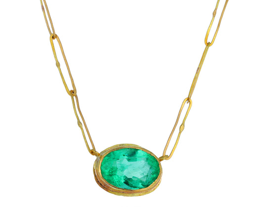Bright Oval Emerald Echo Necklace