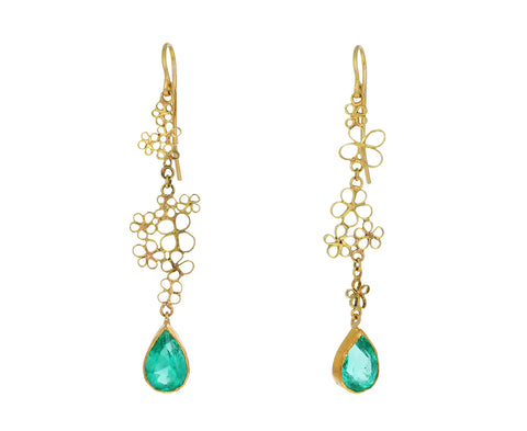 Emerald Flowery Drop Earrings