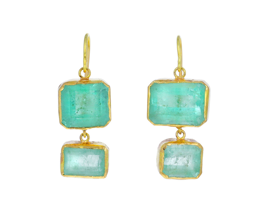 Lovely Light Rectangular Cut Emerald Earrings