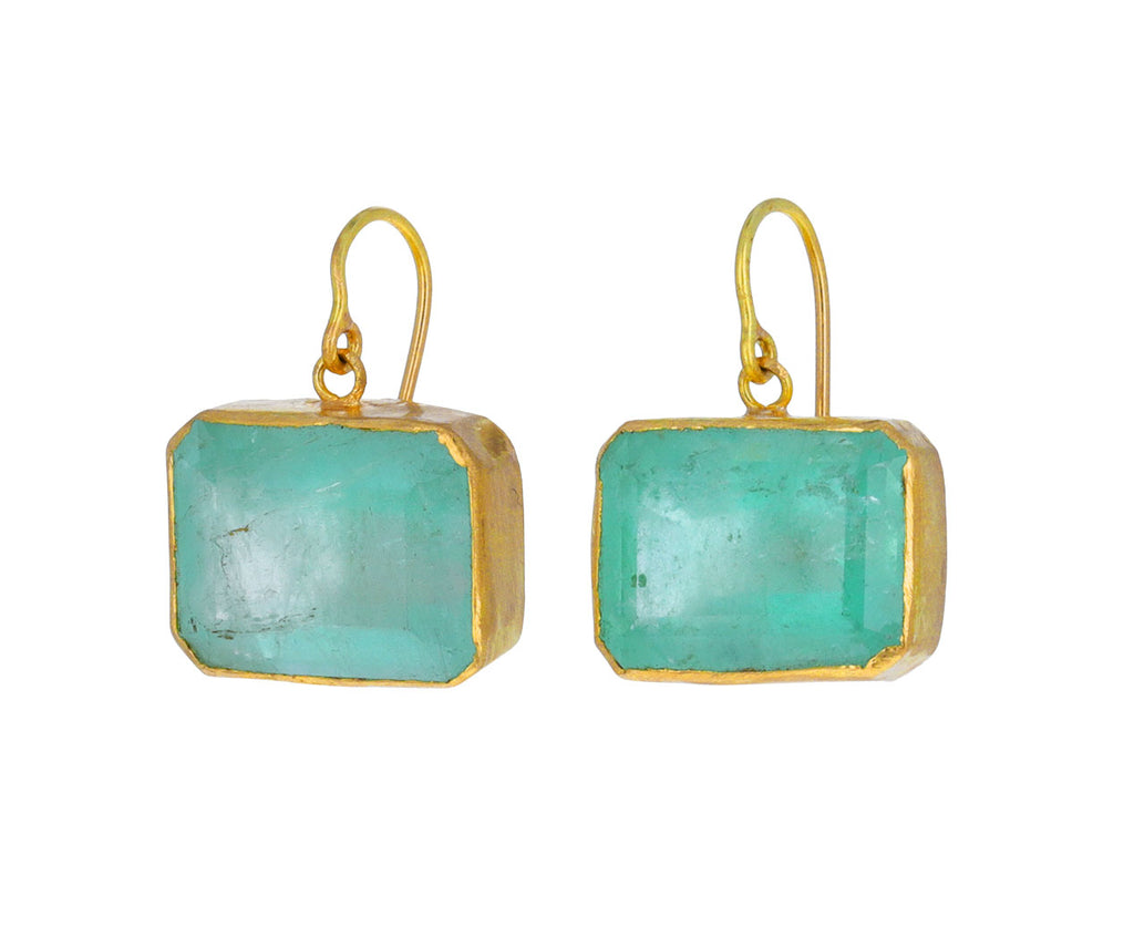 Gorgeous Rectangular Cut Emerald Single Drop Earrings