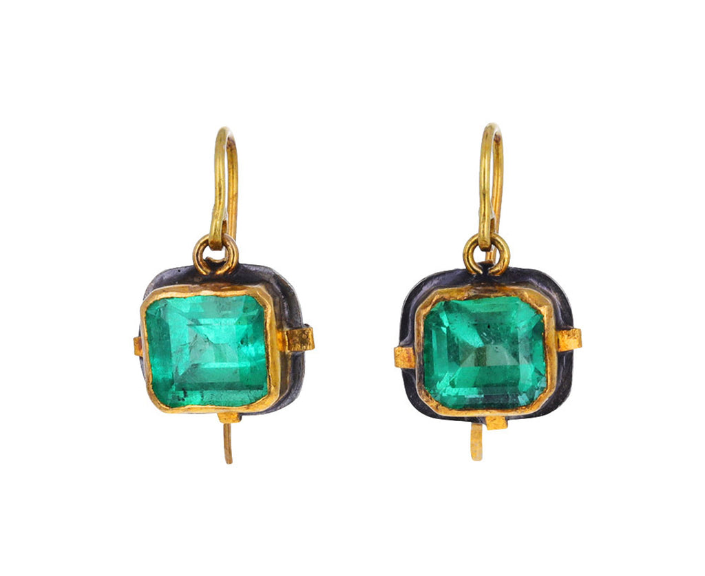 Lovely Square Emerald Earrings