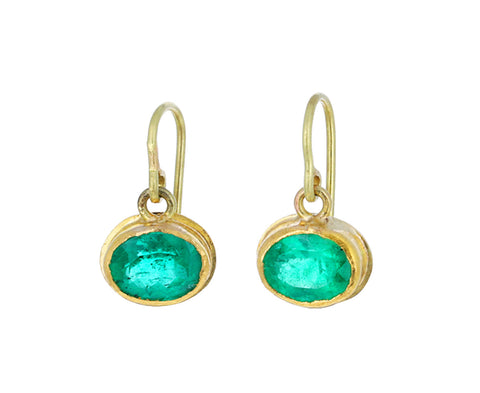 Bright Oval Colombian Emerald Earrings