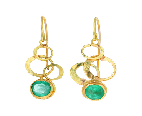 Judy Geib Gold Swooshy Dangle with Emerald Drop Earrings