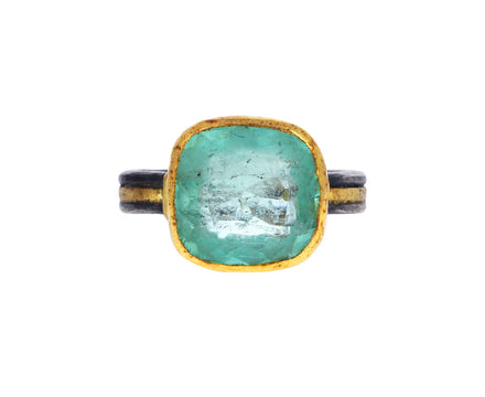 Judy Geib Lovely Light Colombian Emerald Cushion Cut Ring