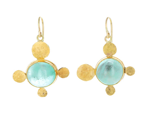 Pale Green Emerald Gold Squash Earrings