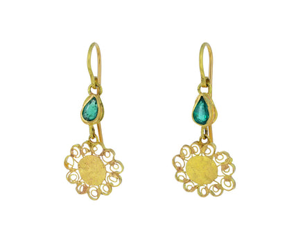 Sweet Spirally Flowers with Pear Shaped Emerald Earrings