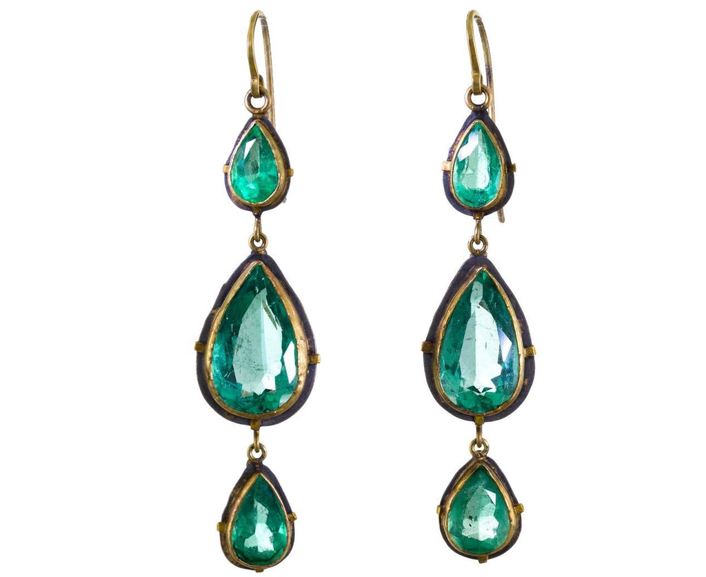 Triple Emerald Dangle Earrings - TWISTonline