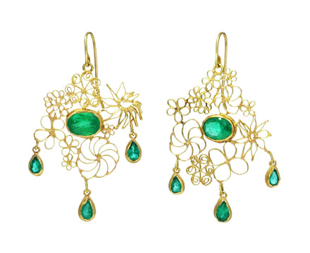 Gold and Emerald Chandelier Earrings - TWISTonline