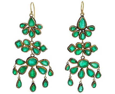 Triple Tiered Emerald Chandelier Earrings