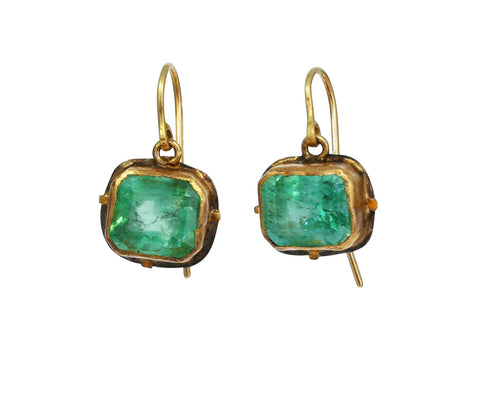 Lovely Rectangular Colombian Emerald Earrings