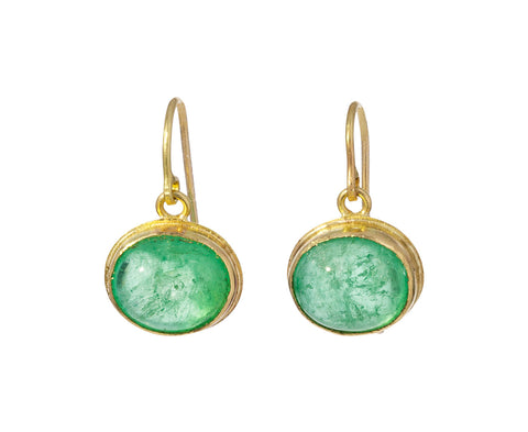 Bright Emerald Cabochon Earrings