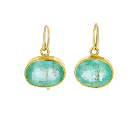Light Oval Emerald Drop Earrings