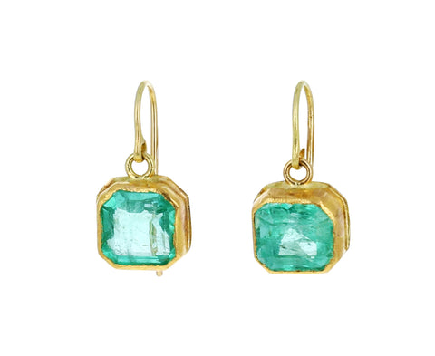 Square Emerald Dangle Earrings