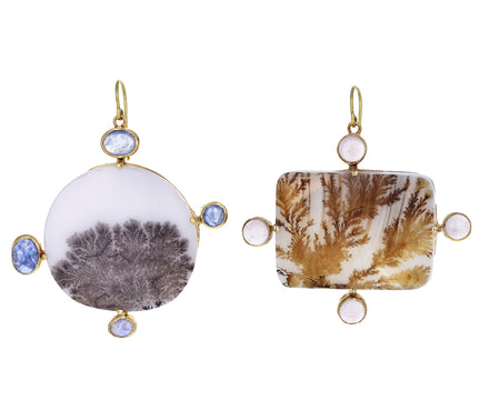 Mismatched Earthy Life Dendritic Agate Earrings