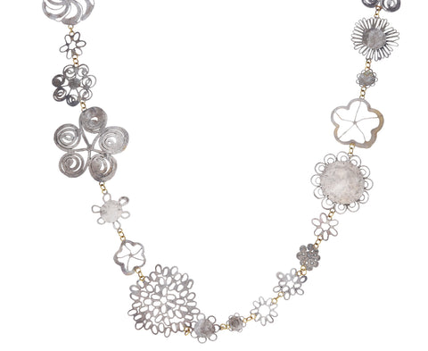 Silver Flat Flowery Necklace