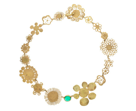 Gold Flowery Necklace with Emerald - TWISTonline