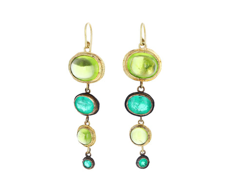 Peridot and Emerald Mechanique Earrings