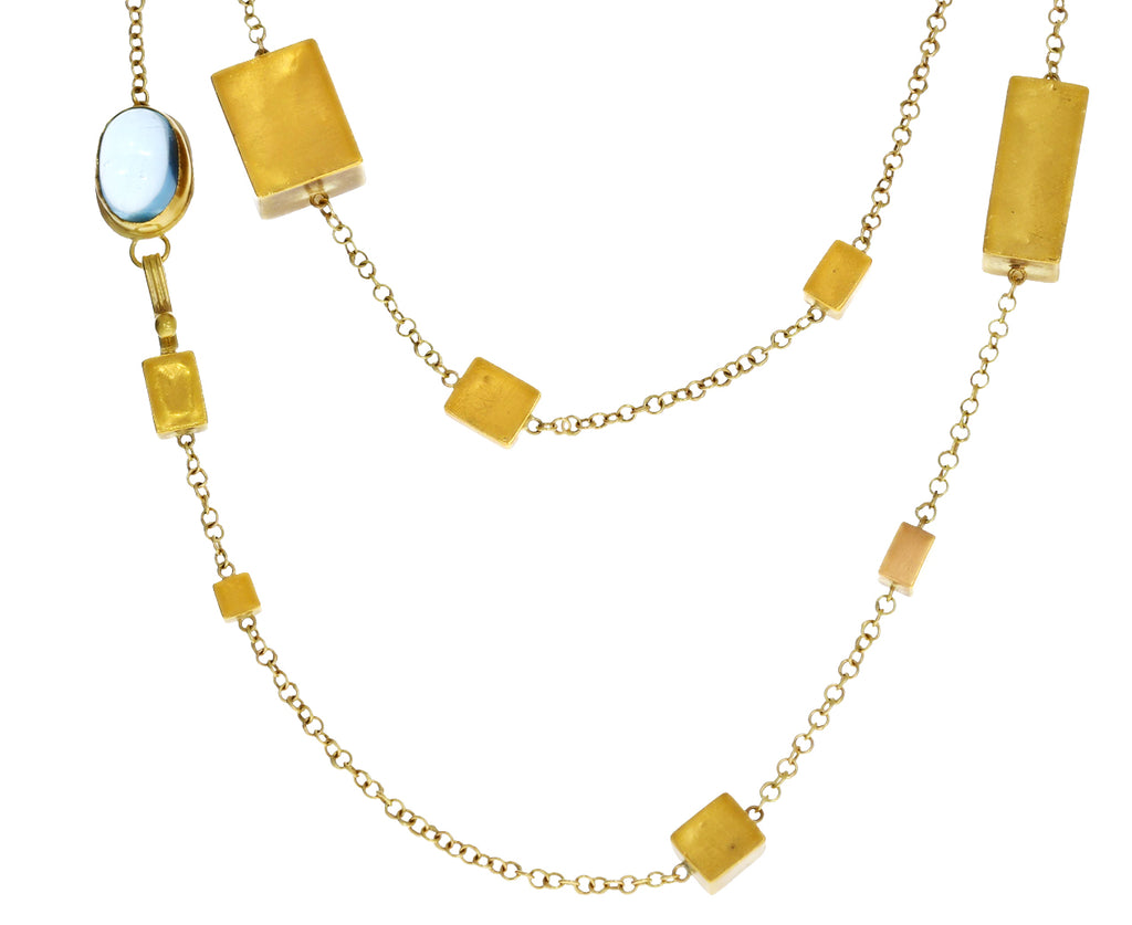 Gold and Aquamarine Giant Cube Necklace