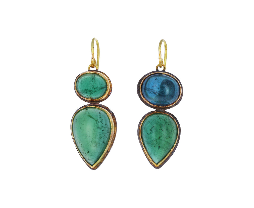Mismatched Brazilian Green Tourmaline Earrings