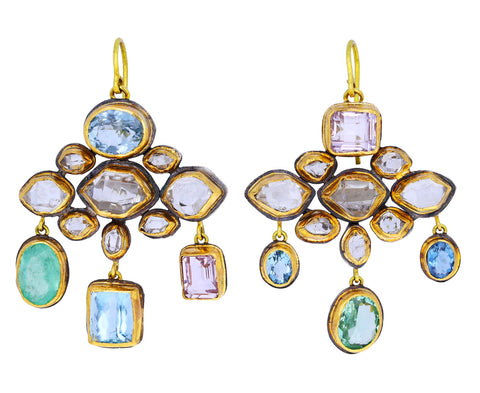 Judy Geib Charming Herkimer Diamond, Emerald, Aquamarine and Kunzite Chandelier Earrings