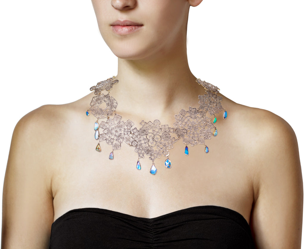 Silver Kaleidoscopic Necklace with Dangling Opals