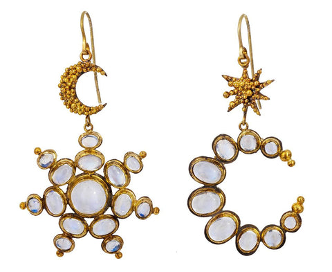 Moon and Star Moonstone Earrings - TWISTonline
