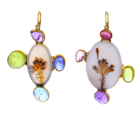 Dendritic Agate and Multi Gem Earrings