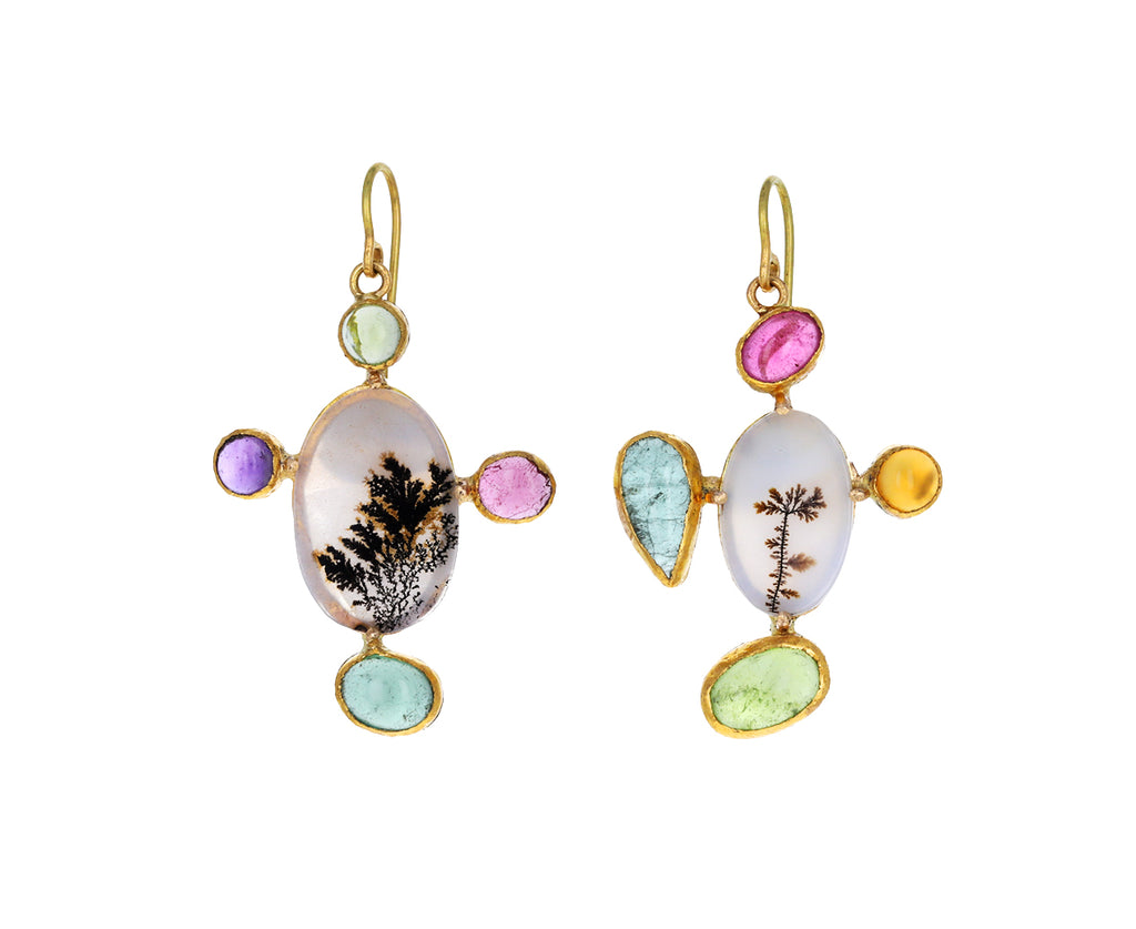 Mixed Gem and Oval Dendritic Agate Earrings