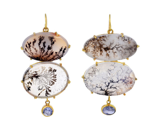 Double Dendritic Agate and Sapphire Drop Earrings
