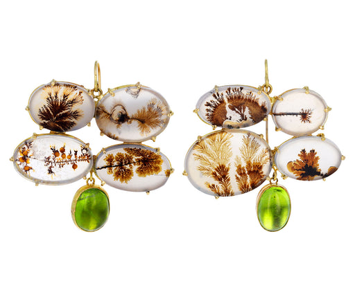 Quadruple Dendritic Agate and Peridot Earrings