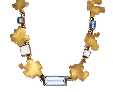 Multi-Gem Mid Century Modern Floor Plan Necklace