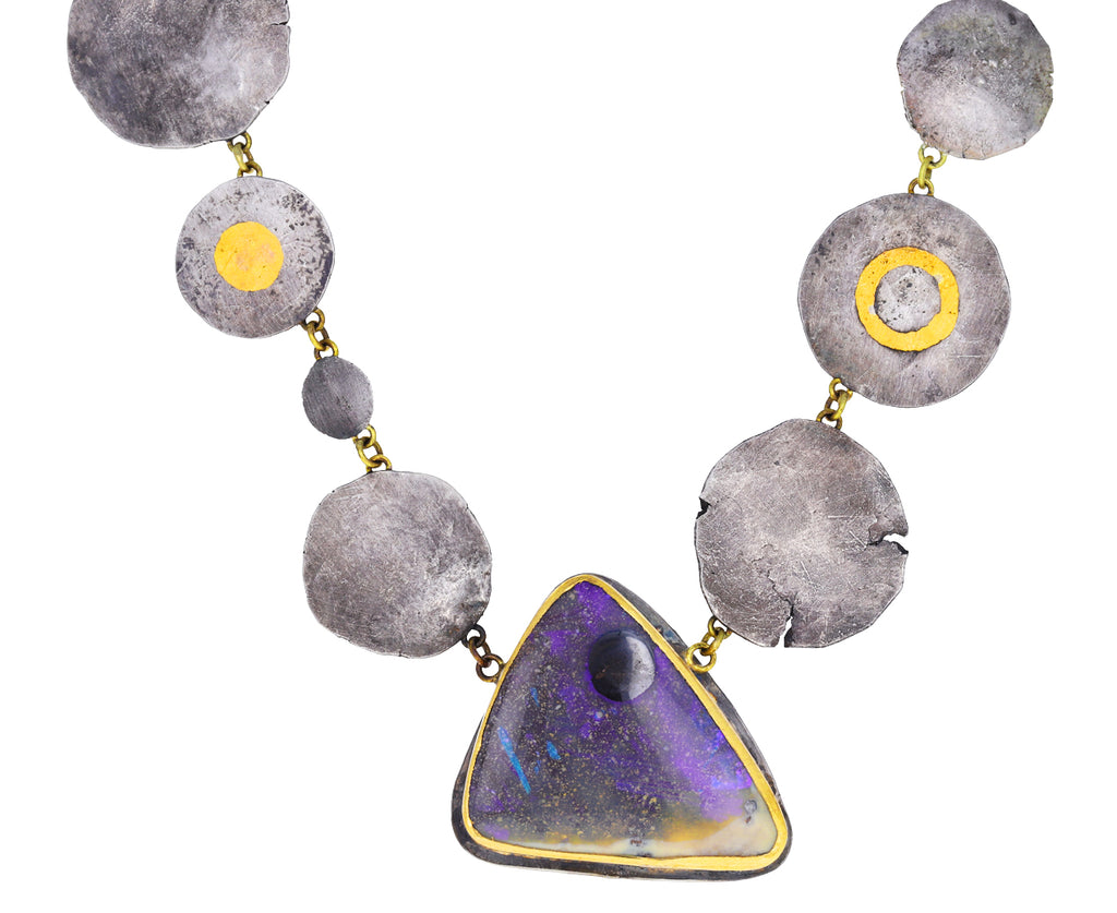 Opal and Silver Squash Moon Necklace