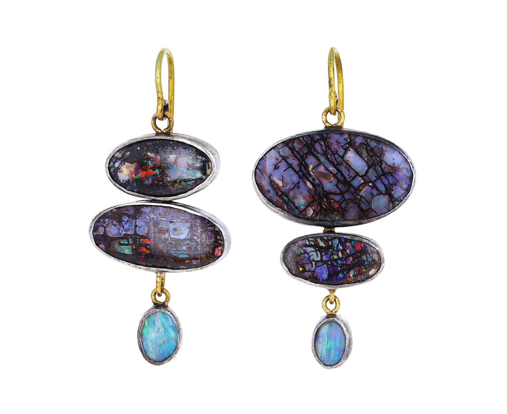 Triple Dangling Opal Earrings