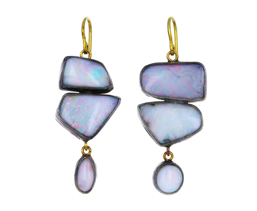 Pale Triple Opal Drop Earrings