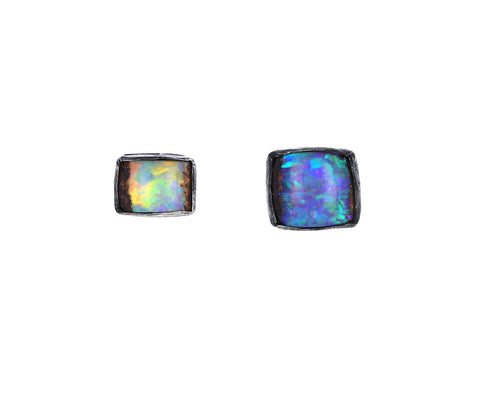 Brilliant Square Opal Stud Earrings