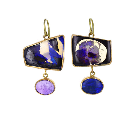 Blue and Purple Opal Drop Earrings