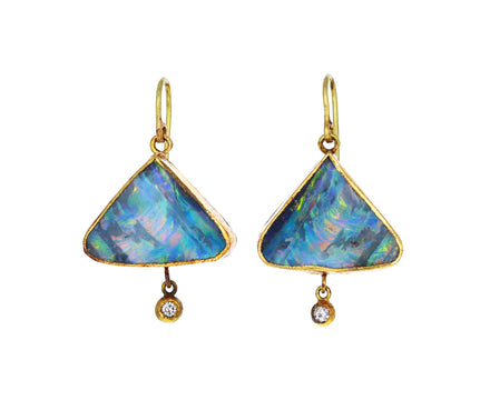 Triangular Boulder Opal and Diamond Drop Earrings