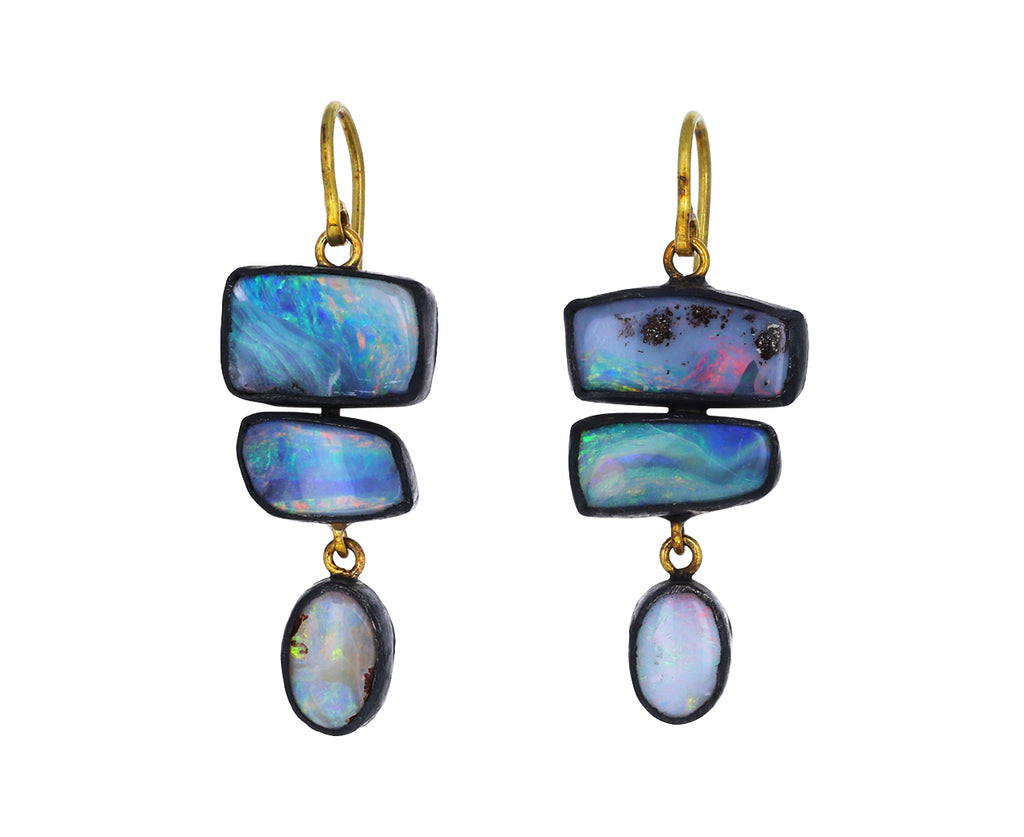 Triple Opal Drop Earrings