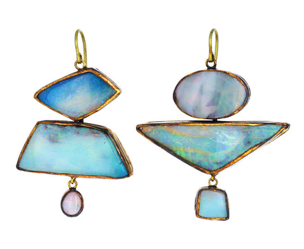 Large Asymmetrical Boulder Opal Earrings