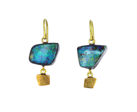 Trapizoid Boulder Opal and Gold Drop Earrings