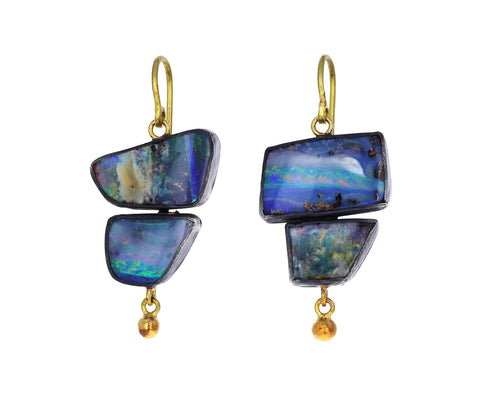 Flashy Boulder Opal Double Drop Earrings