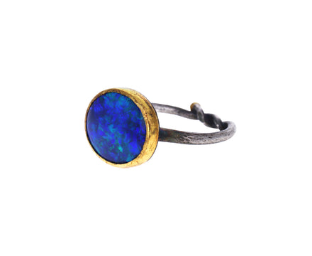 Dark Flashy Opal Ring