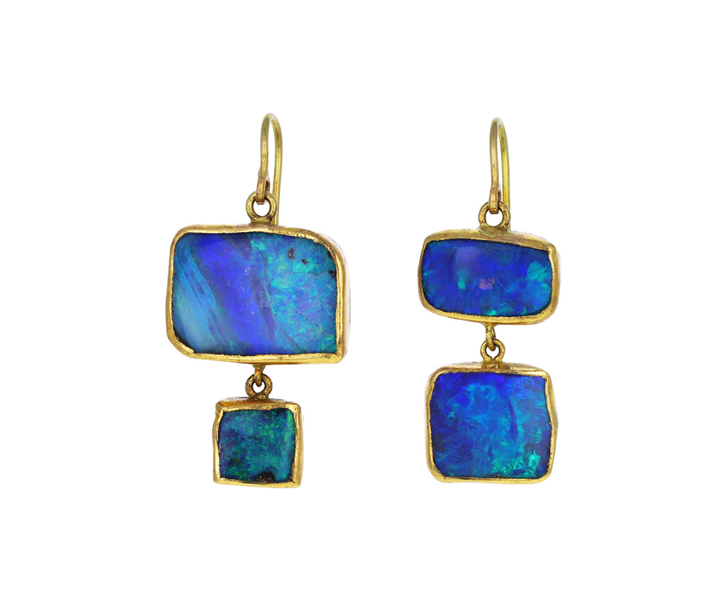 Rectangular Bright Boulder Opal Double Drop Earrings
