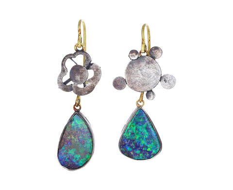 Silly Silver Flowers and Opal Drop Earrings