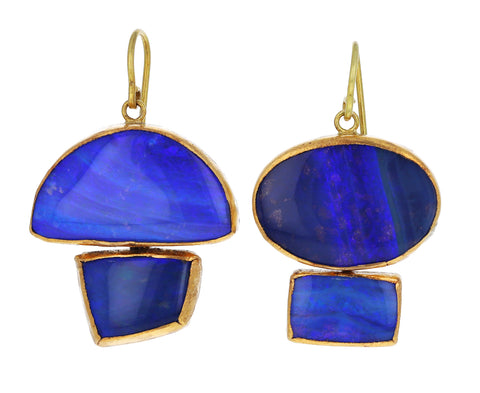 Blue Opal Geometric Earrings