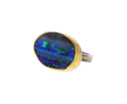 Vibrant Striped Opal Ring