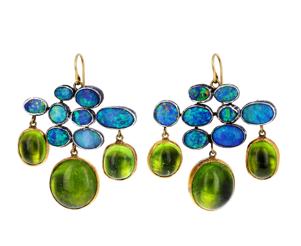Peridot and Opal Girandole Earrings