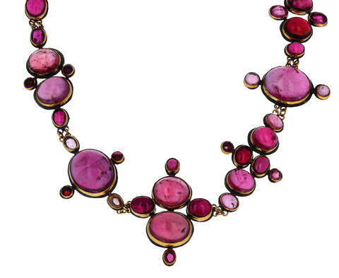 One-of-a-Kind Oval Pink Tourmaline Collar Necklace