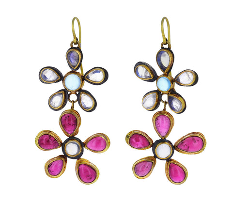 Pink Tourmaline and Moonstone Flowery Double Drop Earrings