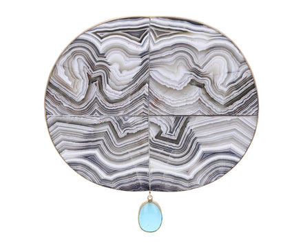 Striped Agate with Persian Turquoise Pin